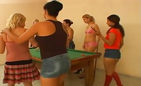 Crazy lesbians playing pool wanting to have some fun