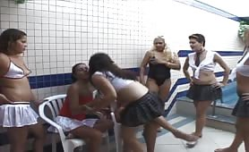 Crazy school girls going to poop on each other